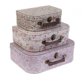 Vintage Flowery Suitcase Set (Set of 3)