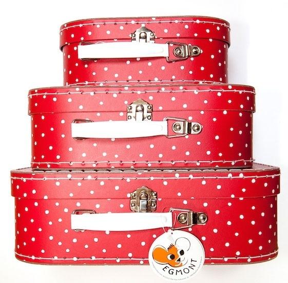 Polka Dot Rood Wit Kofferset van Egmont Toys (Set van 3)
