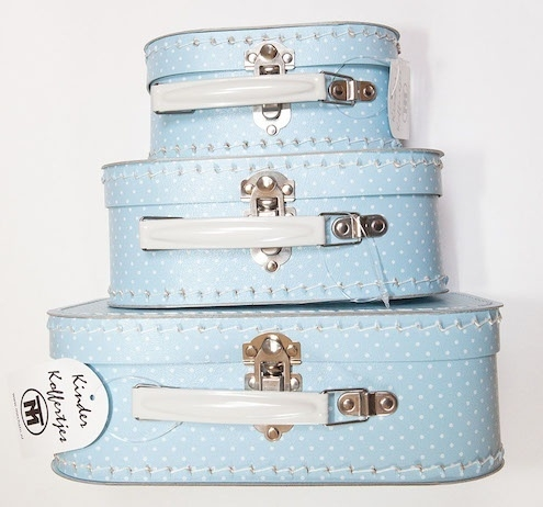 Polka Dot Blauw Wit Kofferset (Set van 3)