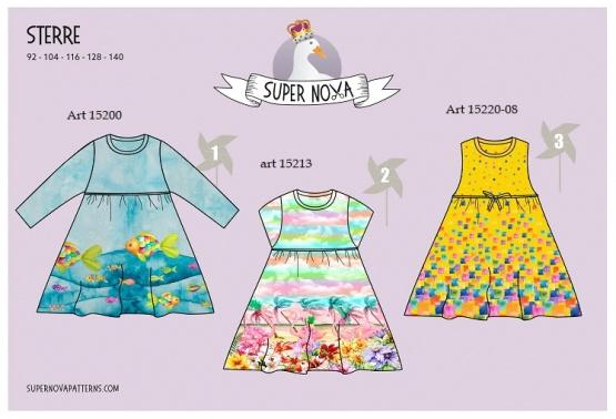 Super Nova Sterre Patroon voor kinderjurken in 3 stijlen Nieuw!