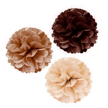 3-pack pompoms Coffee