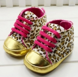 Gold leopard baby schoentjes