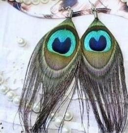 Pauwenveer - oorbellen