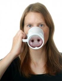 Koffiemok met een grappige bodem...