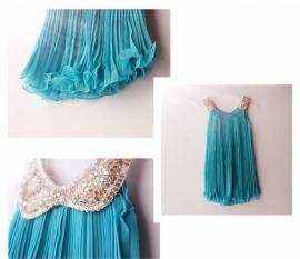 Prinsessenjurk: kleur Azuurblauw
