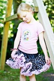 Zwarte pettiskirt met licht roze rand en stippen