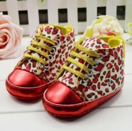Red leopard babyschoentjes