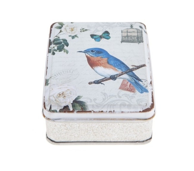 vintage box Blue bird met vlinder