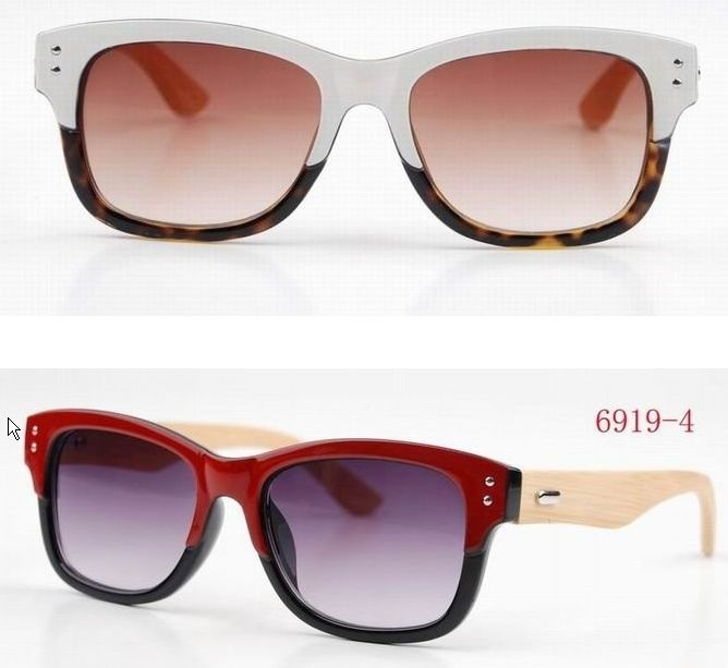 Retro Bamboo Zonnebril - Wit of Rood incl stijlvolle brillendoos