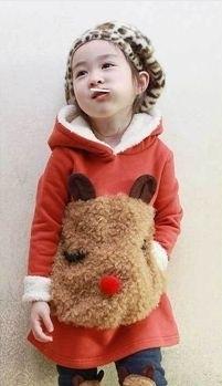 Trui en legging met schattige beer! Kleur: Oranje/rood 130