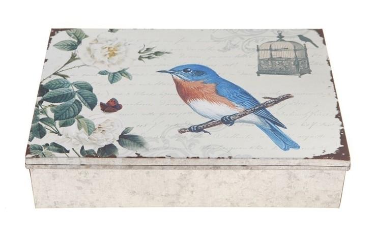 vintage large box met blue bird en vlinders