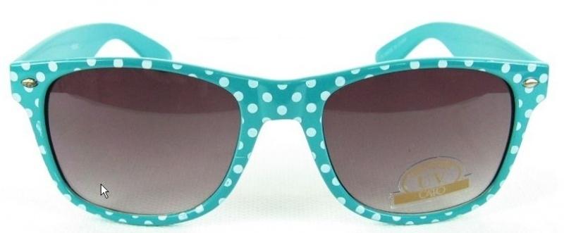 Zonnebril blauw met witte stippen