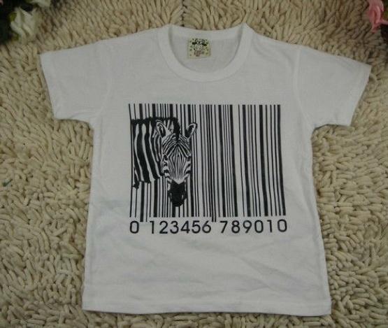 T-shirt met zebra en barcode! 90-120-130