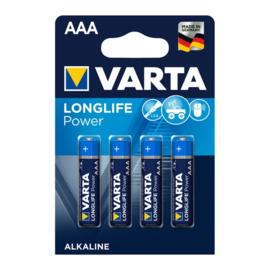 4x Batterij Varta Longlife Power AAA LR03 4703AAA Micro HR03 R3