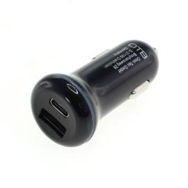 30W USB autolader adapter (USB-C + USB-A)- USB-PD 2-Poort