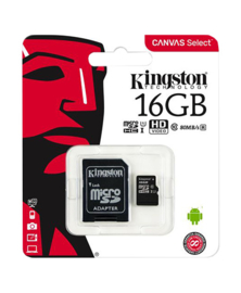 Kingston Micro SDHC Card 16GB Class 10 inclusief SD Adapter