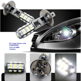 2x H1 LED Canbus Ultra Wit 6000K Dim/Grootlicht Xenon-Look