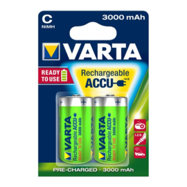 2x Rechargeable Varta Accu BABY C - 3000mAh Ready for Use