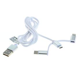 USB Kabel 3-in-1 8-Pin Lightning / Micro USB / USB C Nylonmantel 1M