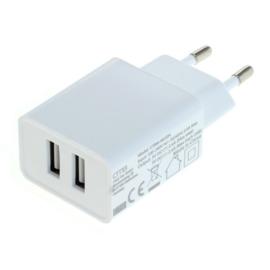 USB 220V Thuislader Reislader Stopcontact 2x USB - Smart IC - 2.4A