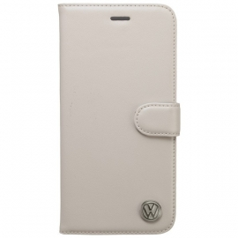Echt Leder Volkswagen BOOK CASE  voor Apple iPhone 6 Plus - Wit (OP=OP)