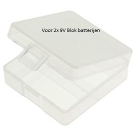 Transport bewaarbox voor 2x 9V Blok batterijen - Transparant