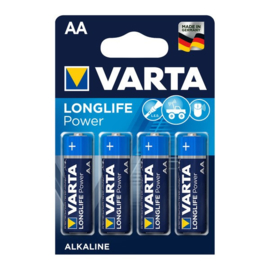 4x Varta Longlife Power Batterij AA HR6 LR6 Mignon op Blister