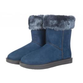 Davos Fur bontgevoerde stalschoen met bontrandje donkerblauw