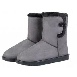 Davos Button allweather laarsje/stalschoen Fur met sierknoop waterdicht met bontrandje grijs
