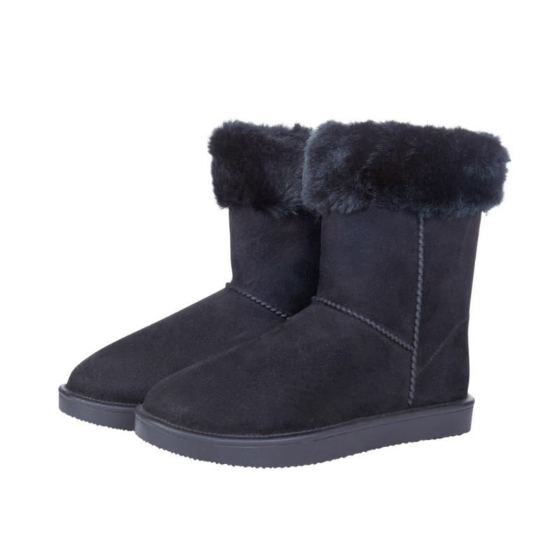 Davos Fur bontgevoerde stalschoen zwart met bontrand