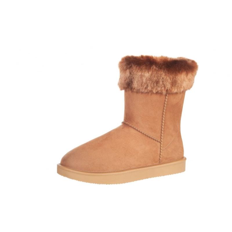 Davos Fur bontgevoerde stalschoen met bontrandje camel