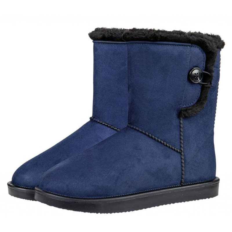 Davos Button allweather laarsje/stalschoen Fur met sierknoop waterdicht met bontrandje donkerblauw