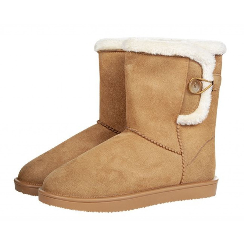 Davos Button allweather laarsje/stalschoen Fur met sierknoop waterdicht met bontrandje camel