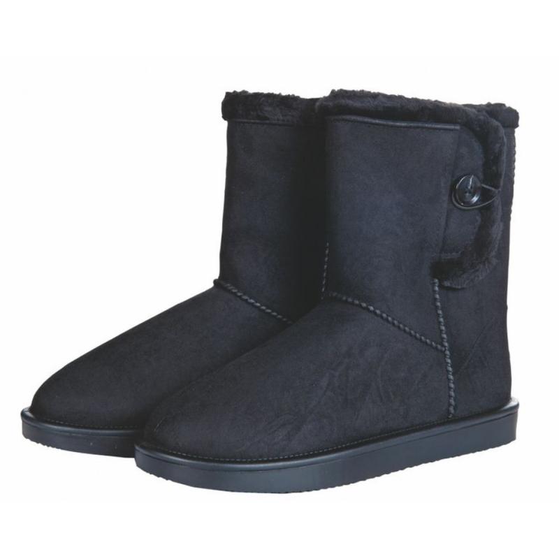 Davos Button allweather laarsje/stalschoen Fur met sierknoop waterdicht met bontrandje zwart