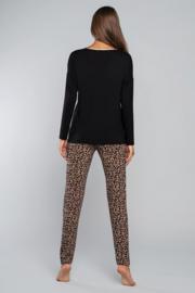 ITALIAN FASHION Heerlijke pyjama in zwart met panterprint, S, M, L, XL