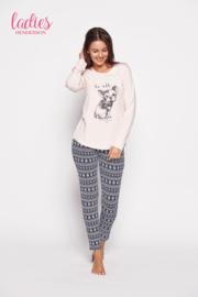 HENDERSON LADIES Roze / Grijze pyjama met hondje, Model GLORY, Maat: S, M, L en XL