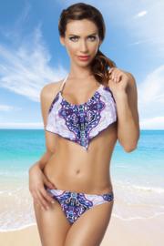 IBIZA-STYLE Bikini in prachtig blauw met lila! Apert model, alleen nog 1x in maat M!