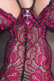 CHILIROSE Sexy corsage in zwart met Fuchsia-Roze, in S, M, L en XL