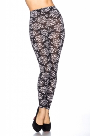 Trendy zwart/witte legging met floraldessin, Maat One Size fits the most