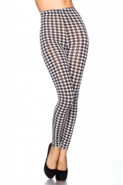 Trendy zwart/witte pied-de-poule legging, Maat One Size fits the most