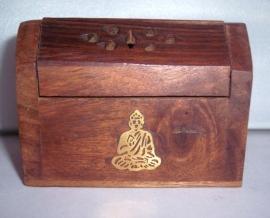 Wierookhouder kegel hout boeddha