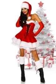 CHRISTMAS Petticoat-jurk fluweel en bont + extra`s ! Maat: L/XL