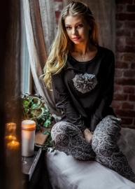 KEY Heerlijk comfortabele DamesPyjama Zwart met dessin Maat S, M en L
