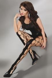 LIVCO CORSETTI Trendy zwarte, opengewerkte panty Jeanne, maat S/L