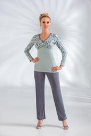 DONNA Elegante pyjama TINA Petrolblauw, Maten: S, M, L, XL, 2XL, 3XL