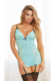 DREAMGIRL  Aqua Jarretelles-hemdsetje in One Size en Queen Size