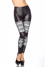 Trendy zwarte legging met kantinzetten, Maat One Size fits the most