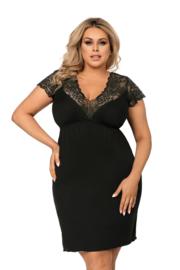 DONNA Elegant nachthemd in zwart met luxe kant, 3XL, 4XL en 5XL