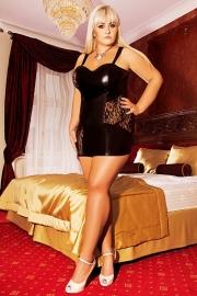 """ANDALEA Sexy zwarte latex chemise """"OKSANA"""" Maten 38/40 t/m 50/52 ! !"""