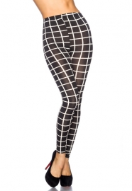 Trendy zwart/wit geblokte legging, Maat One Size fits the most
